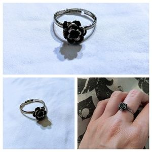 Vintage Handmade Silver Adjustable Flower Ring